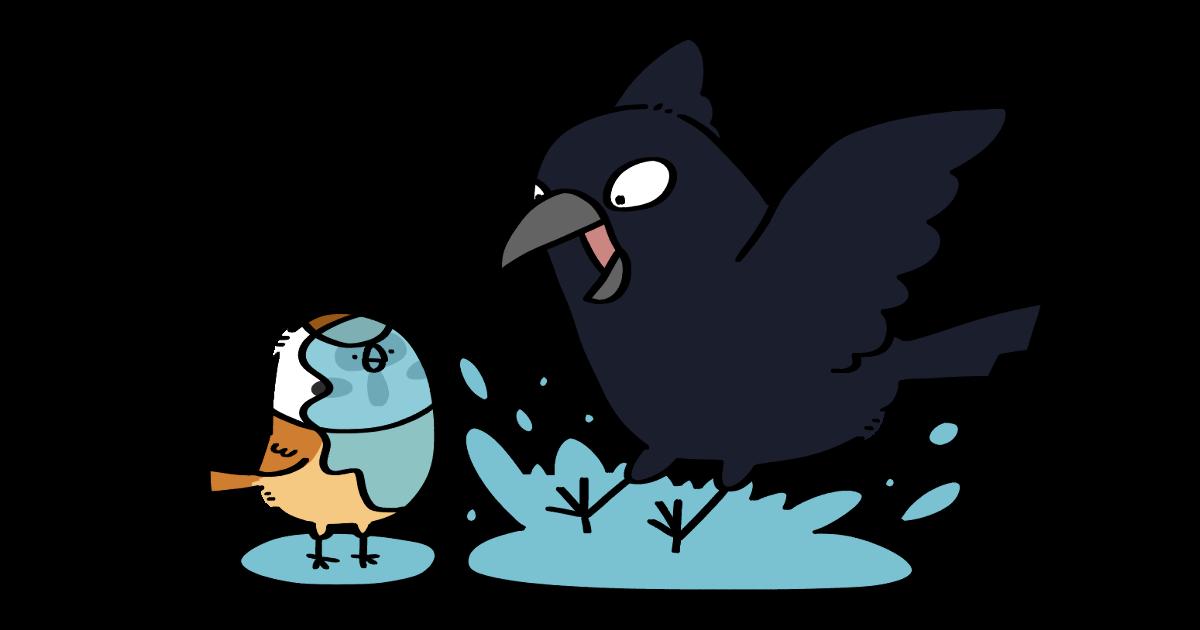 ハシブトガラスさんとスズメさん